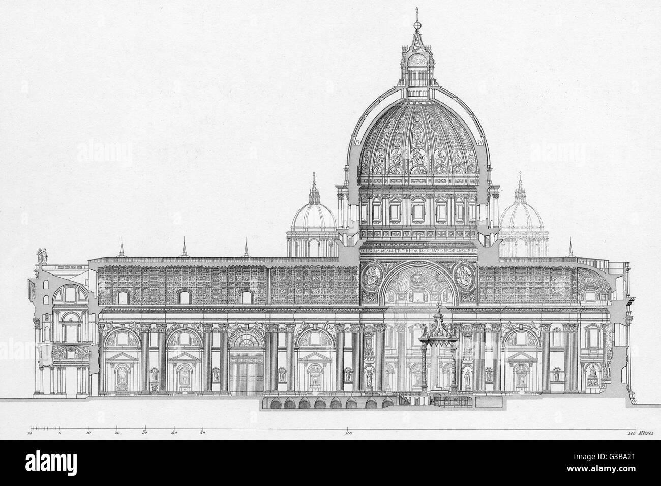 A longitudinal cut-through  view of the Basilica di San  Pietro in the Vatican, Rome.        Date: 1855 Stock Photo