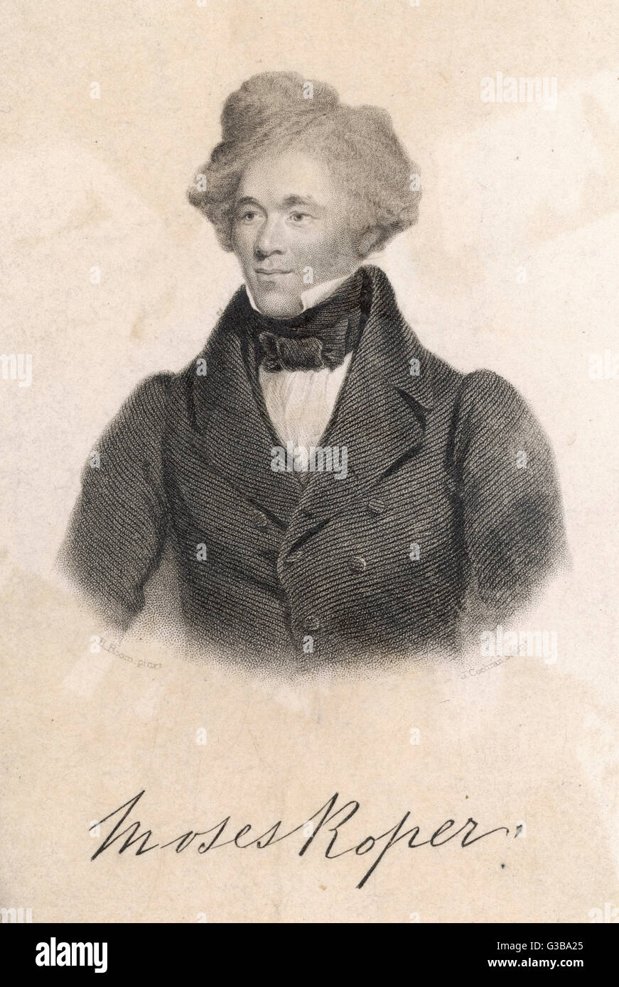 Moses Roper, a slave  who escaped and wrote his autobiography       Date: 1843 - Stock Image