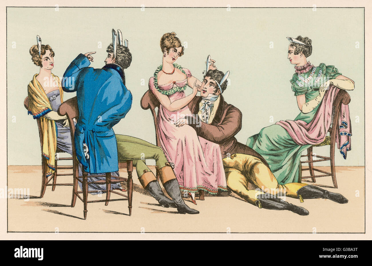 'Le Chevalier Gentil', a  French parlour game involving  repeated phrases        Date: Early ninteenth century - Stock Image