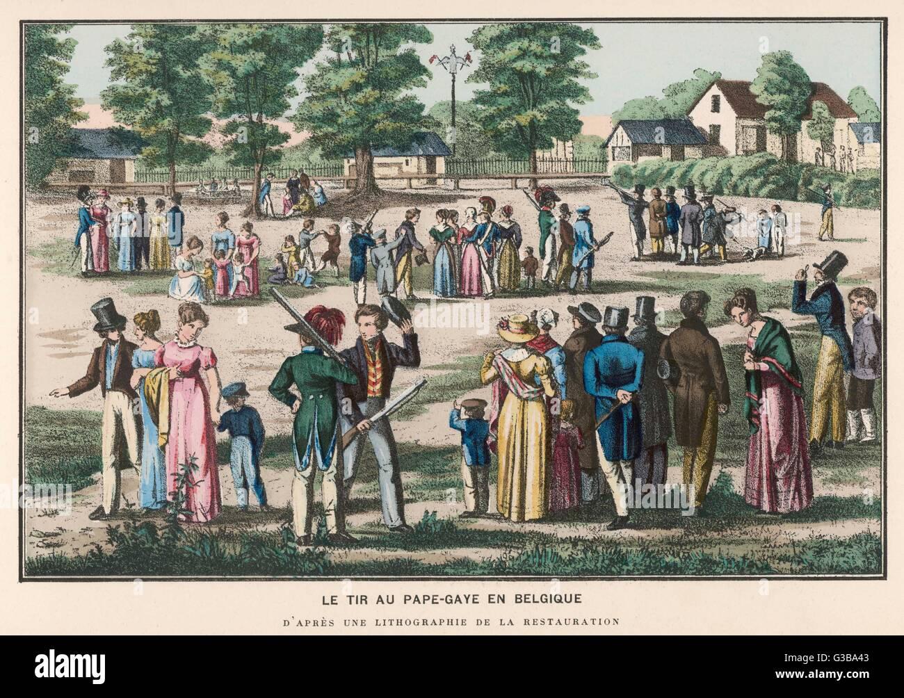 Shooting the 'Popinjay', in  Belgium         Date: 1830s - Stock Image