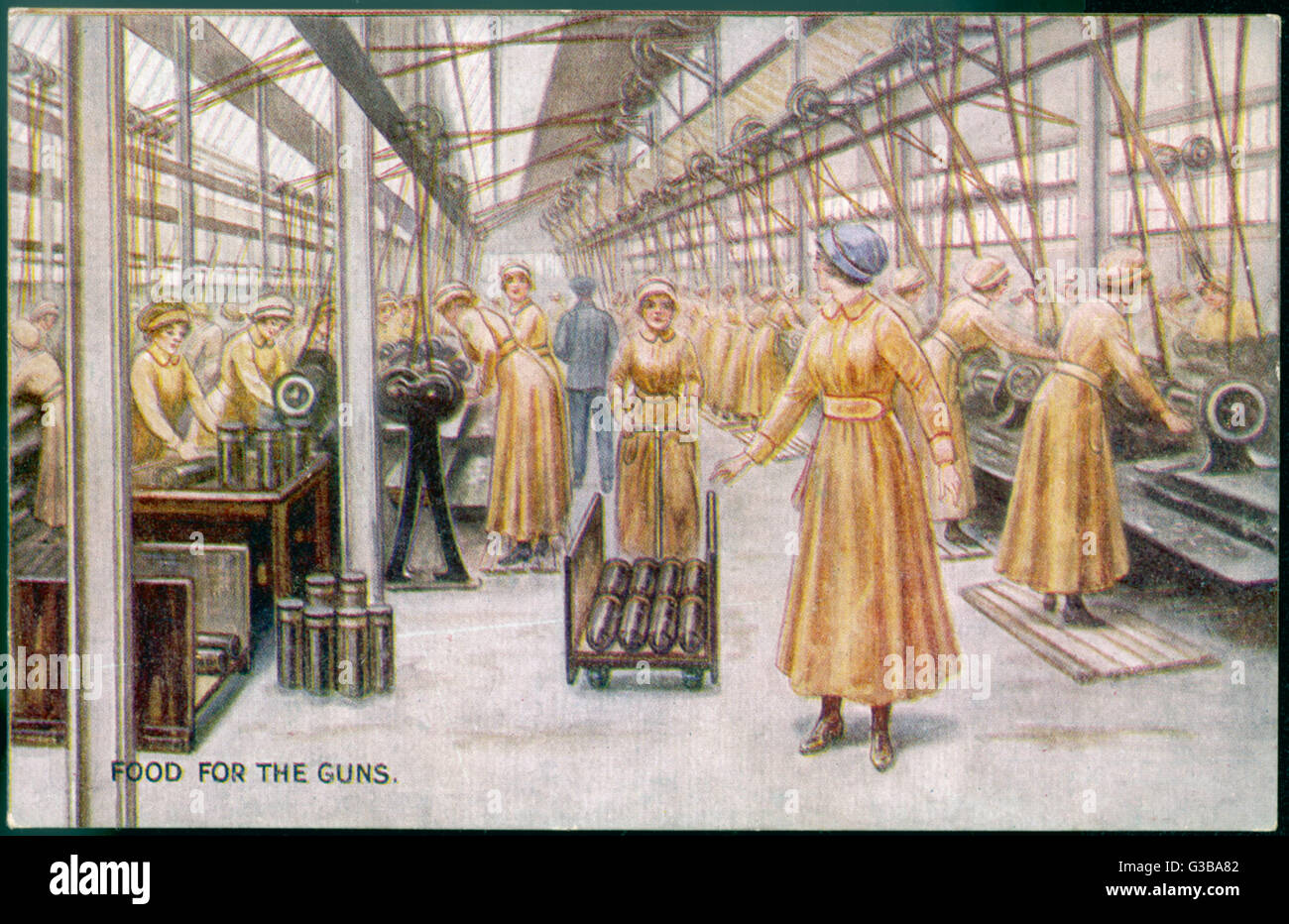 Women working in a British  munitions factory during World  War One        Date: circa 1915 - Stock Image