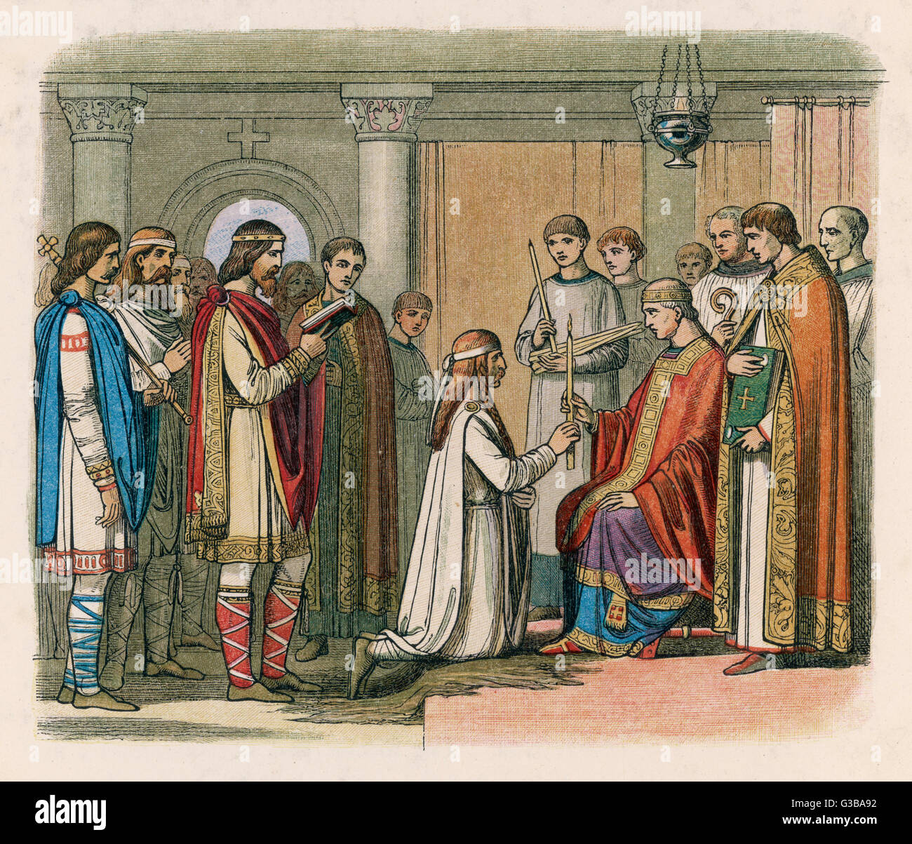 The Dane Guthorm receives  baptism as a condition of the  peace treaty that followed his  defeat by king Alfred - Stock Image
