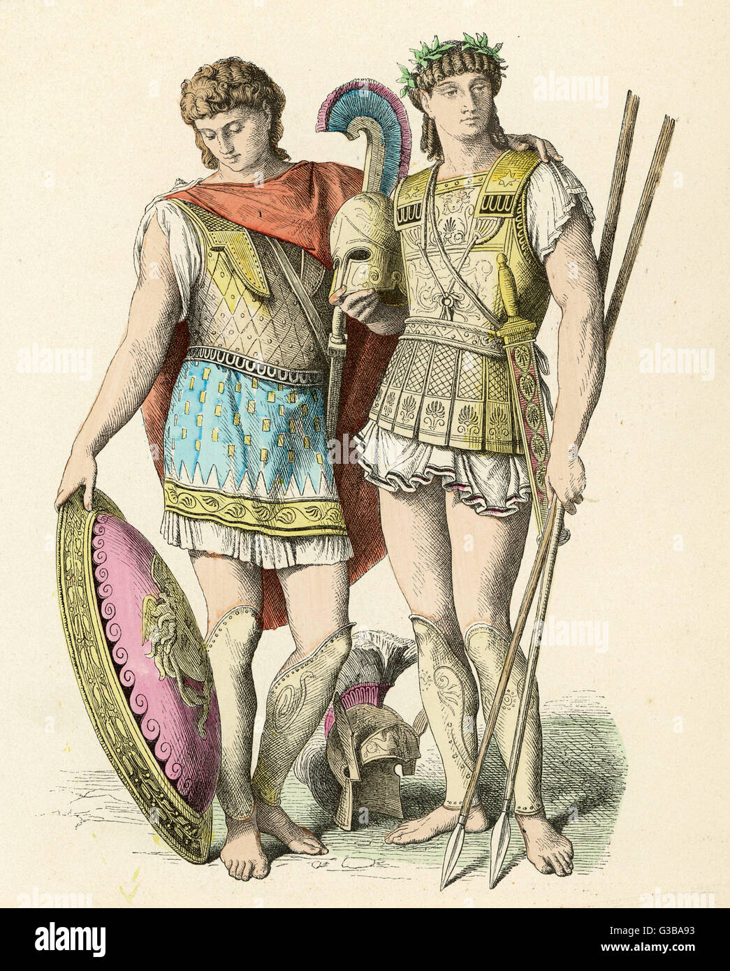 Ancient Greek warriors          Date: ancient - Stock Image