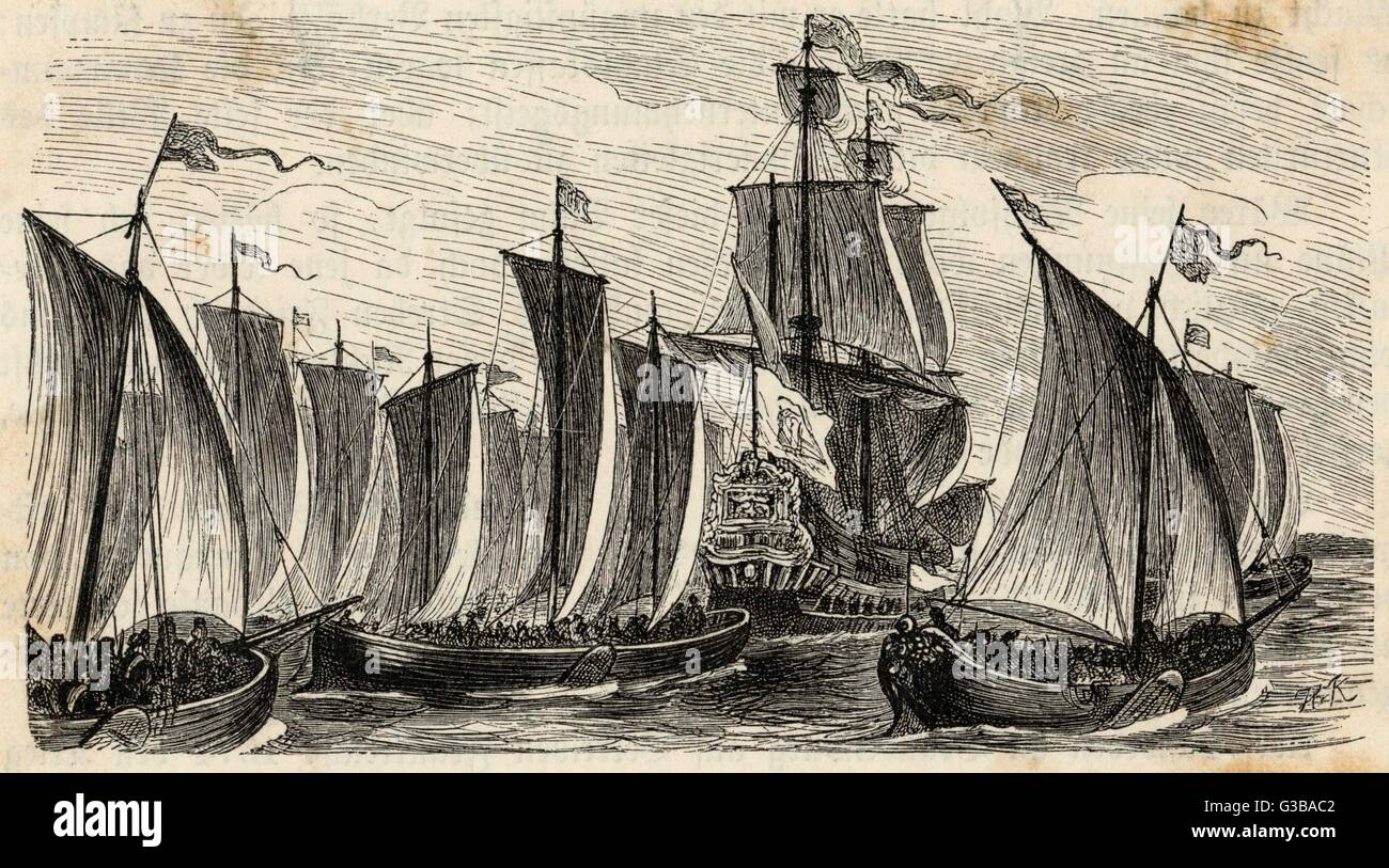 German trading vessels.          Date: 17th century - Stock Image