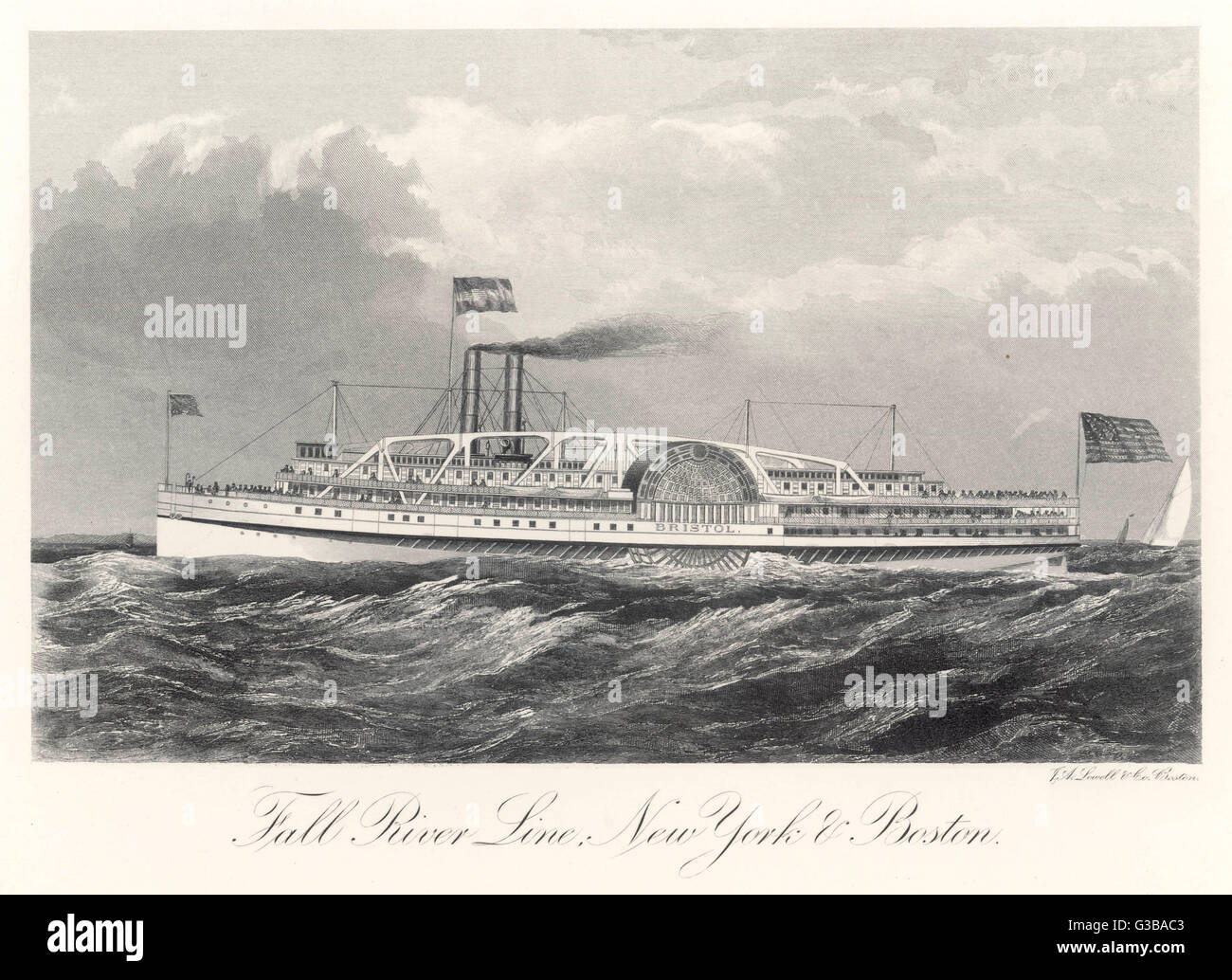 Paddle steamer of the Fall  River Line, plying between  New York and Boston       Date: 1876 - Stock Image