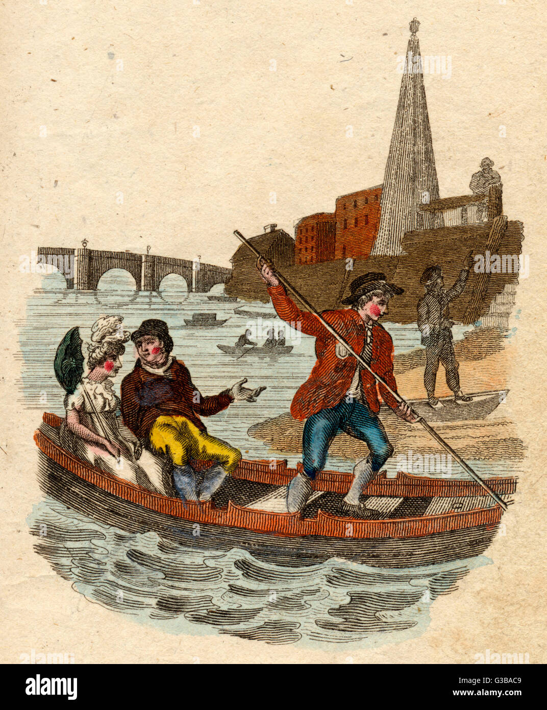 A Thames boatman lands his  passengers on the south bank  of the Thames, near Waterloo; at this time there are some - Stock Image
