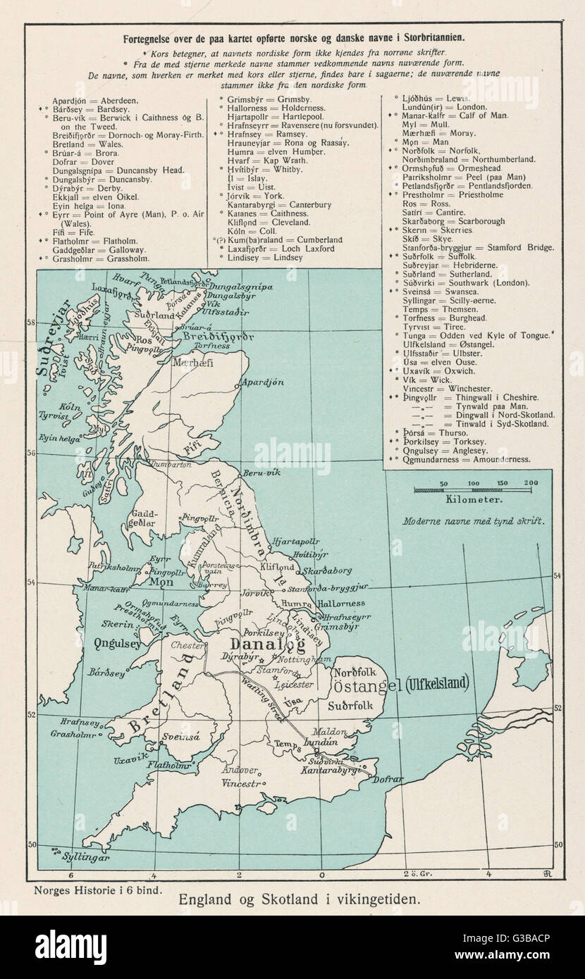 A map showing the Viking names for places in Britain.        Date: circa 800 - Stock Image
