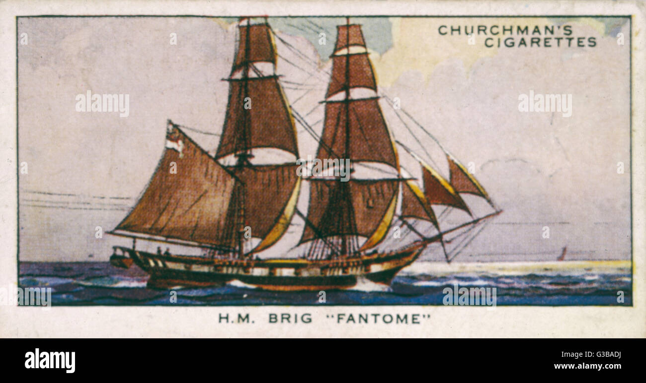 Brigantine of the Royal Navy.         Date: 1839 - Stock Image