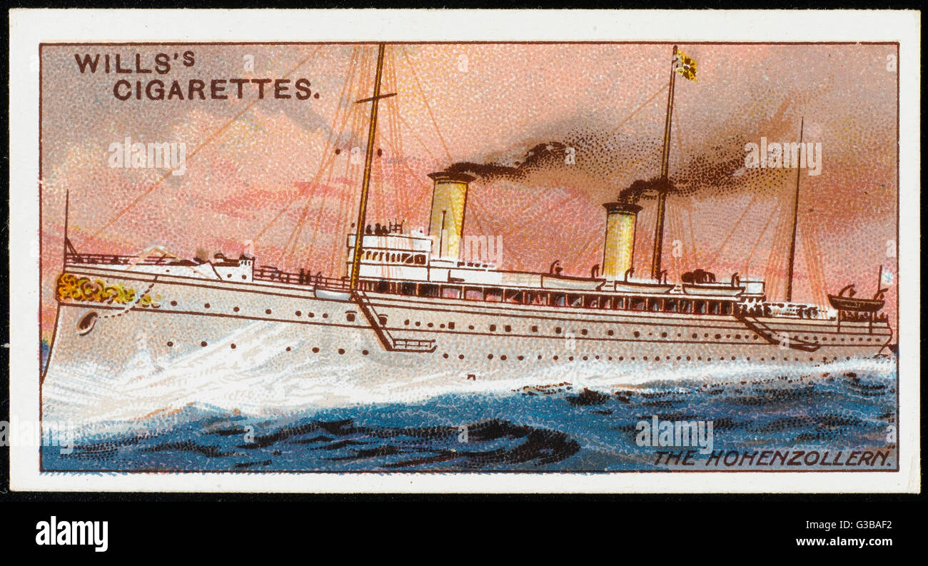 German armed steam yacht.         Date: 1892 - Stock Image