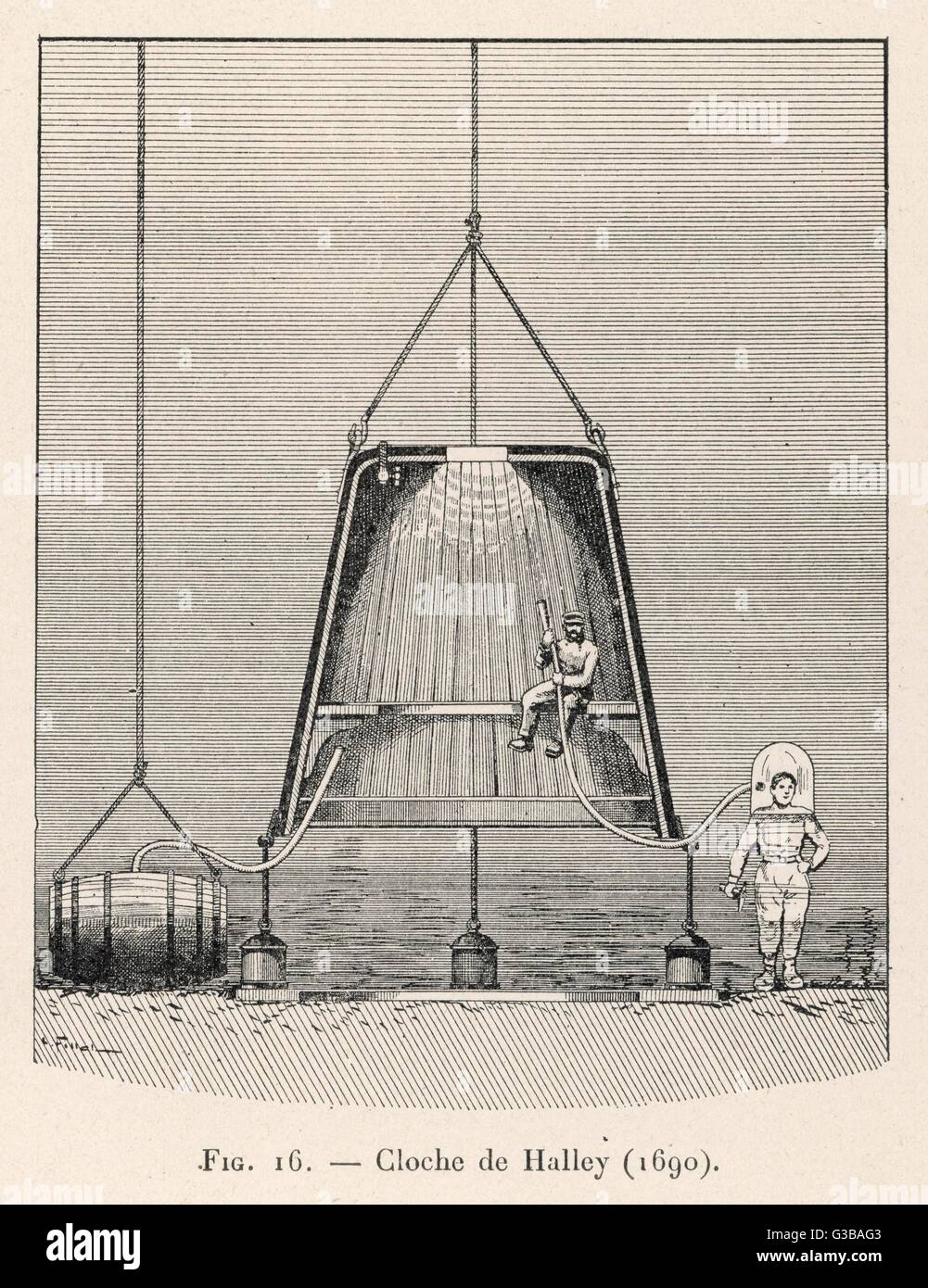Cross-section of his bell,  showing how it is proposed  that the diver could emerge  wearing a smaller bell on his Stock Photo