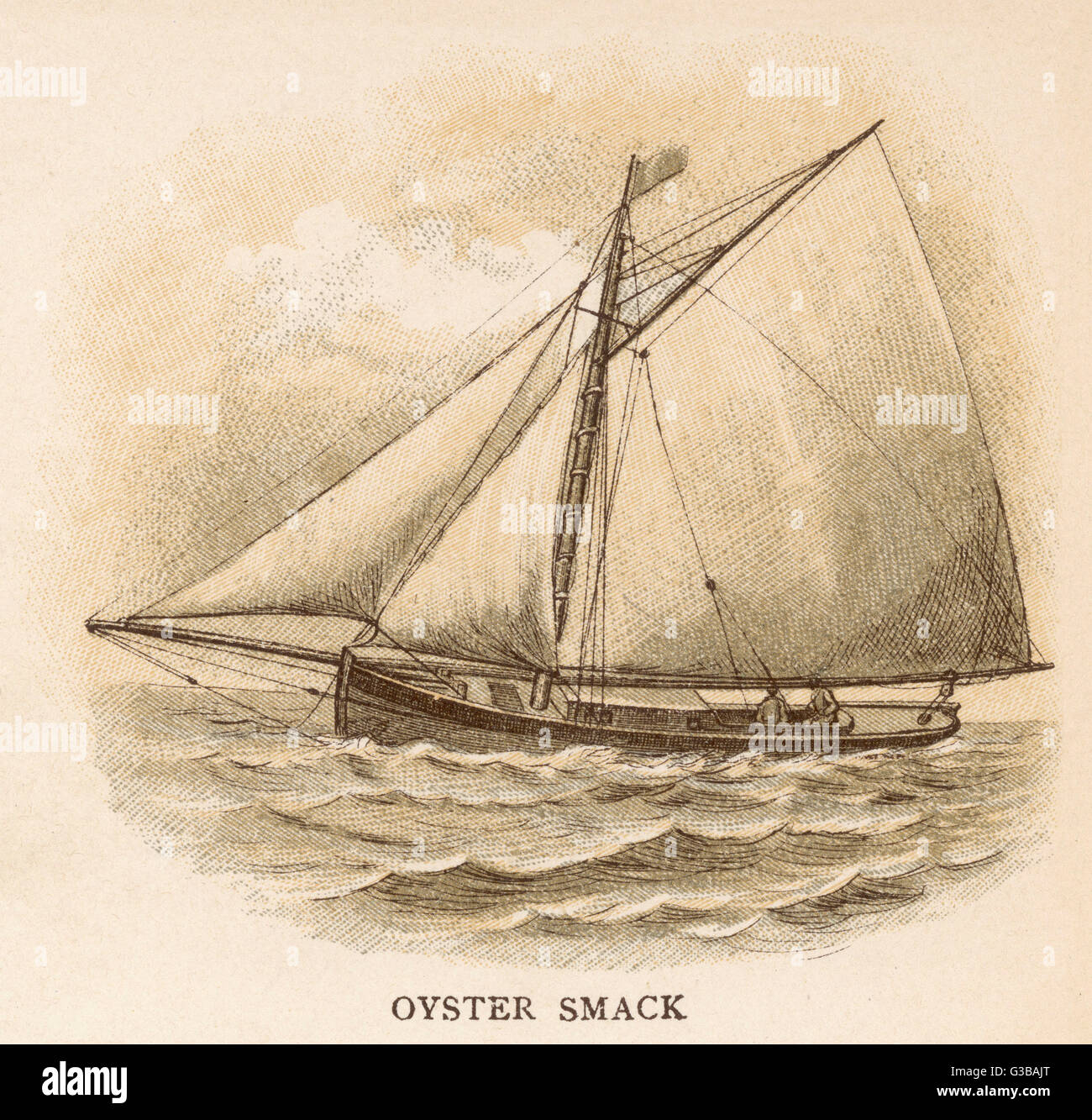 Oyster smack of the Kent  coast, south-east England.        Date: circa 1880 - Stock Image