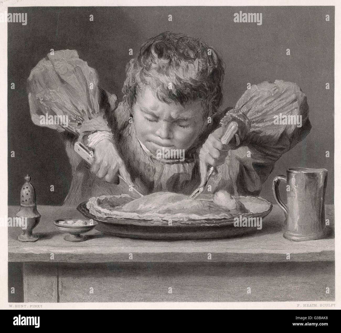 A plump boy puts all his  strength into eating a pie.         Date: circa 1850 - Stock Image
