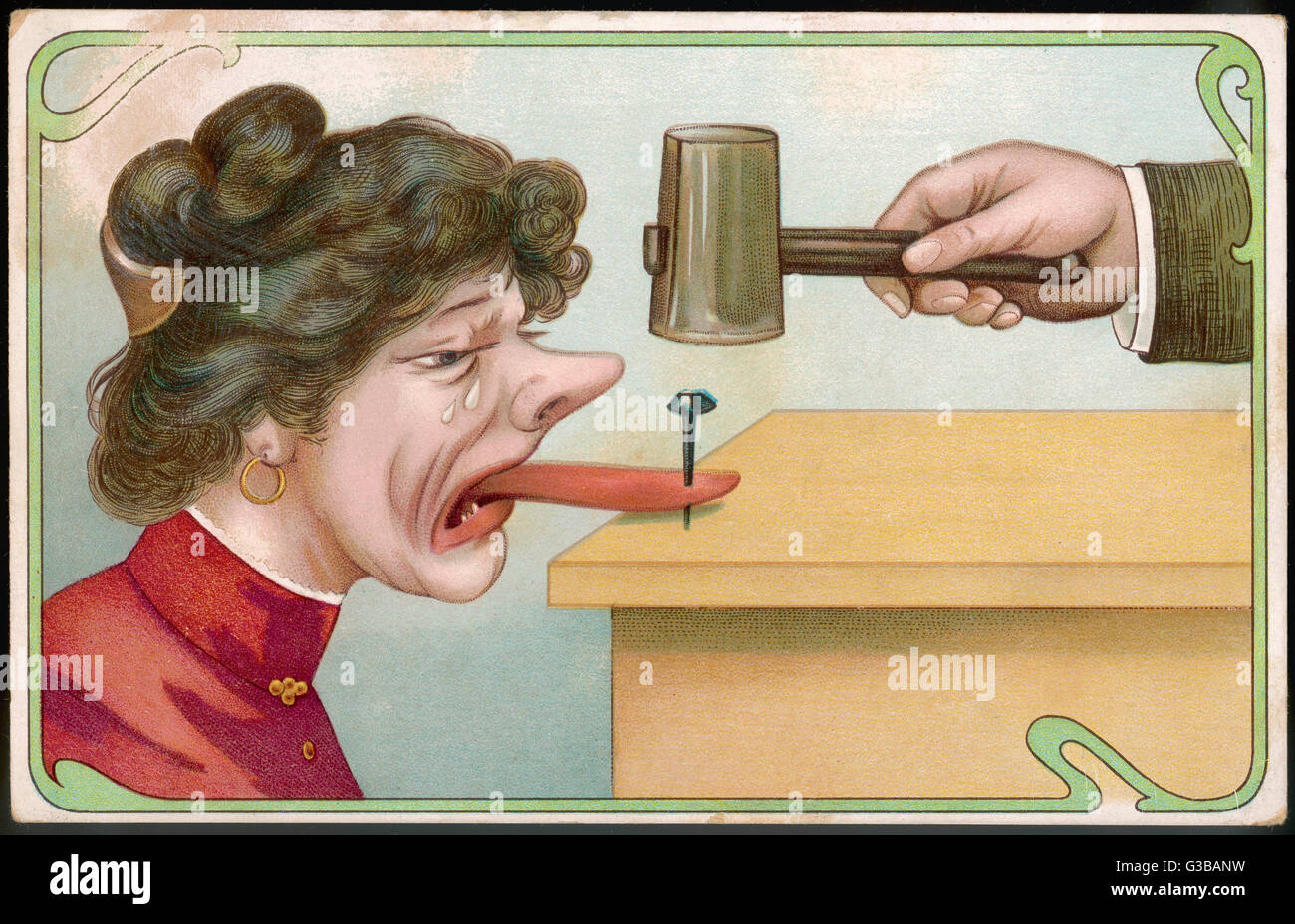 The best way to silence a  suffragette or any woman who  demands her rights!        Date: 1913 - Stock Image