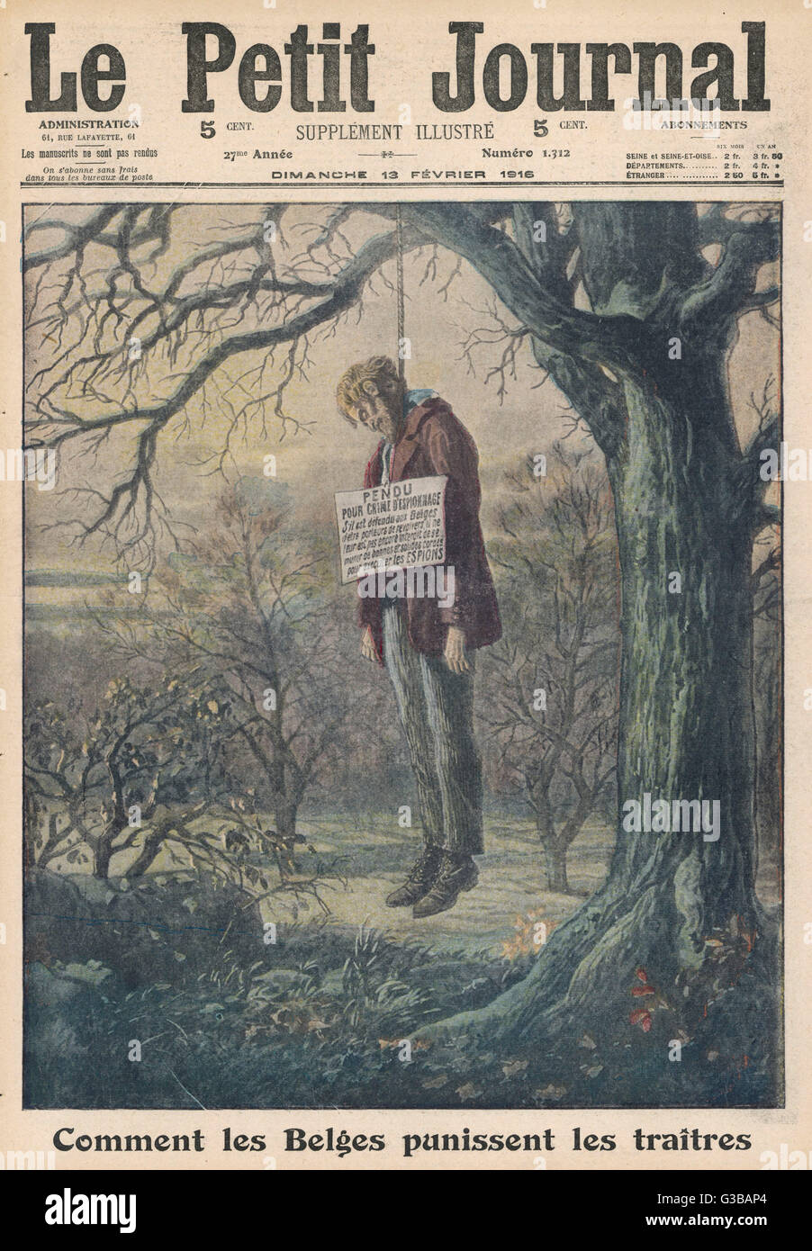 BELGIUM  A German spy is hanged from a  tree with a notice pinned onto  him      Date: 1916 - Stock Image
