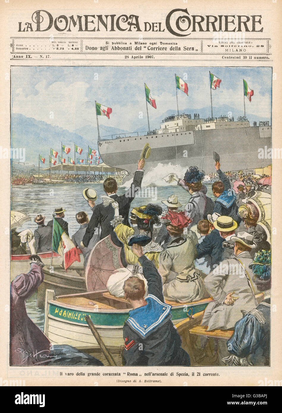 A new addition to the Italian  fleet is launched at La  Spezia.  (There are many  vessels with this name.)      - Stock Image