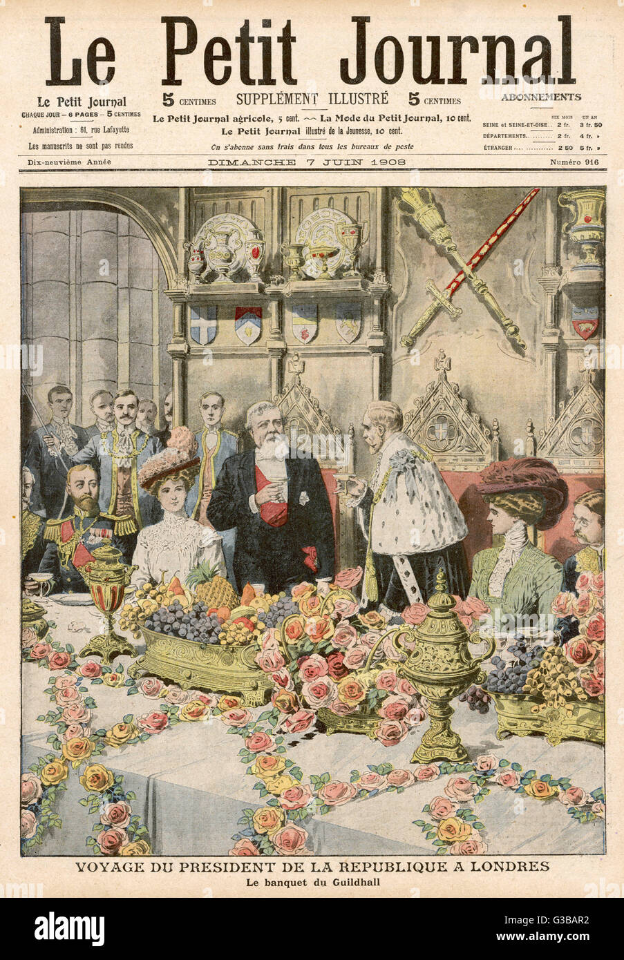 The Lord Mayor of London  invites French President  Fallieres to dine at his  Guildhall banquet.       Date: 1908 - Stock Image