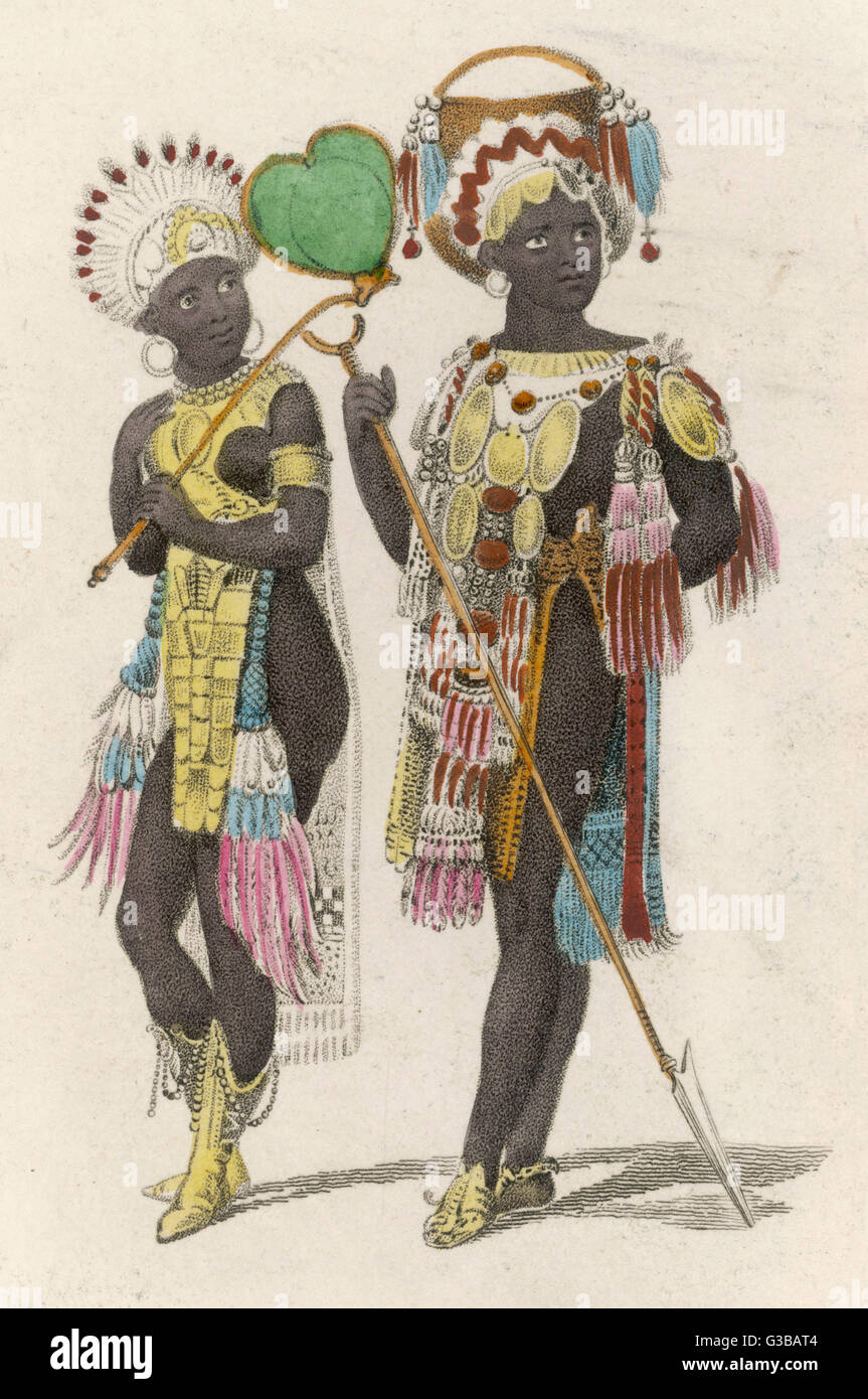 Two richly dressed Africans         Date: circa 1830 Stock Photo