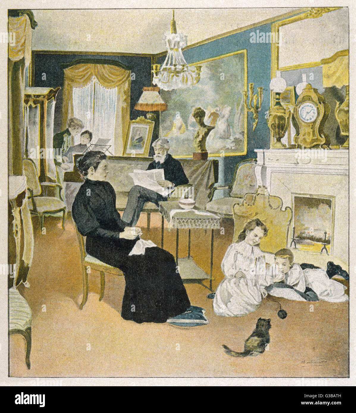 Papa with his journal, mama  with her sewing, the two older  girls practising duets, the  youngsters playing with - Stock Image