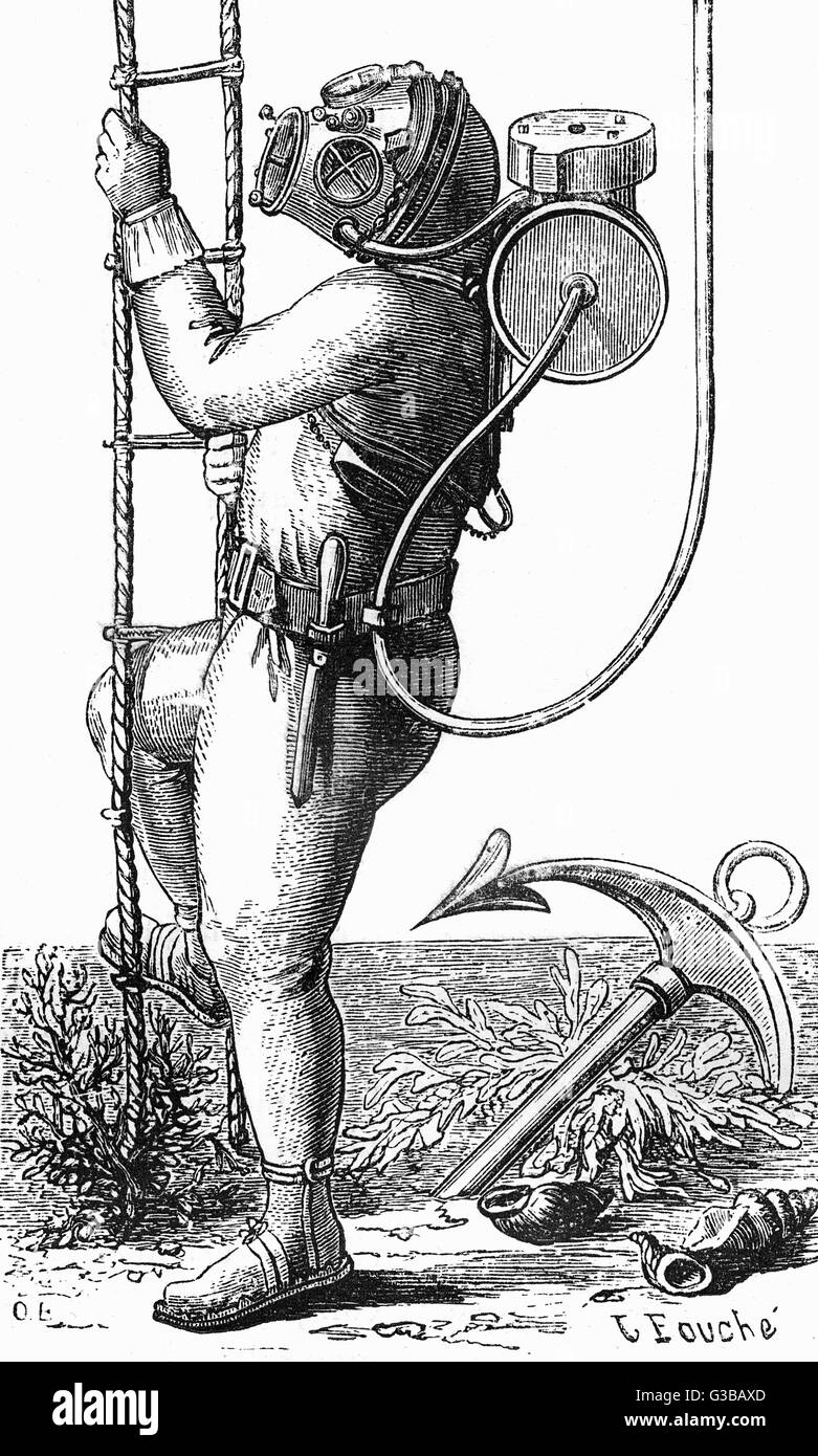 A state-of-the-art diving suit  of the late 19th century, made  of rubber and fitted with an  emergency air tank, - Stock Image