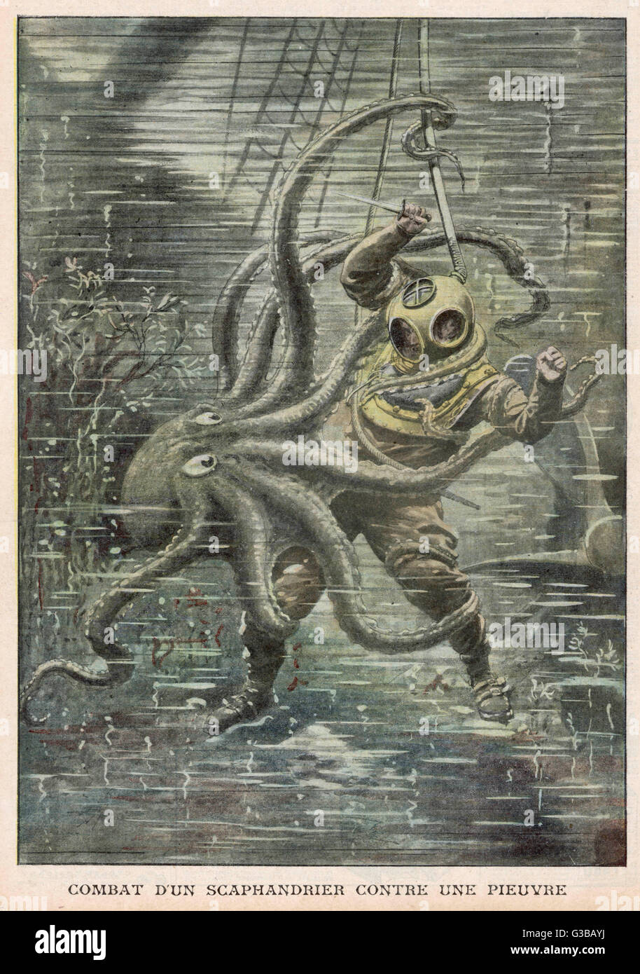 Many divers are fatally  attacked by octopi but  American Martin Lund manages  to escape the embraces of this  enormous - Stock Image