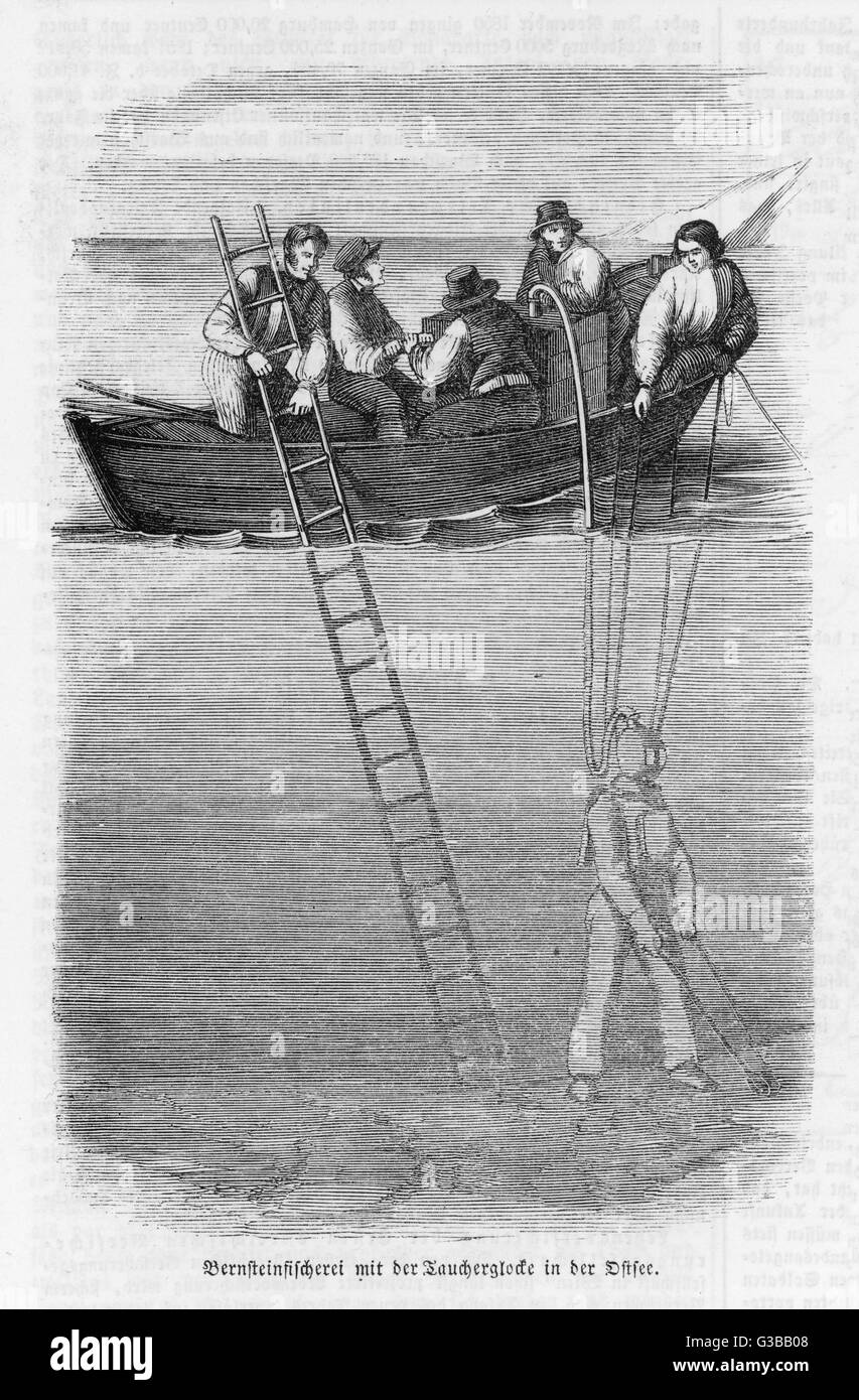 Diving for amber  in northern seas.        Date: 1852 - Stock Image
