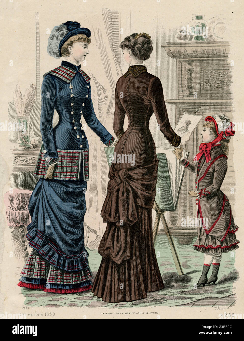 Dress fitting tightly to below  the hips, reverse collar,  buttons down the back. Girl:  coat body with tails pinned - Stock Image