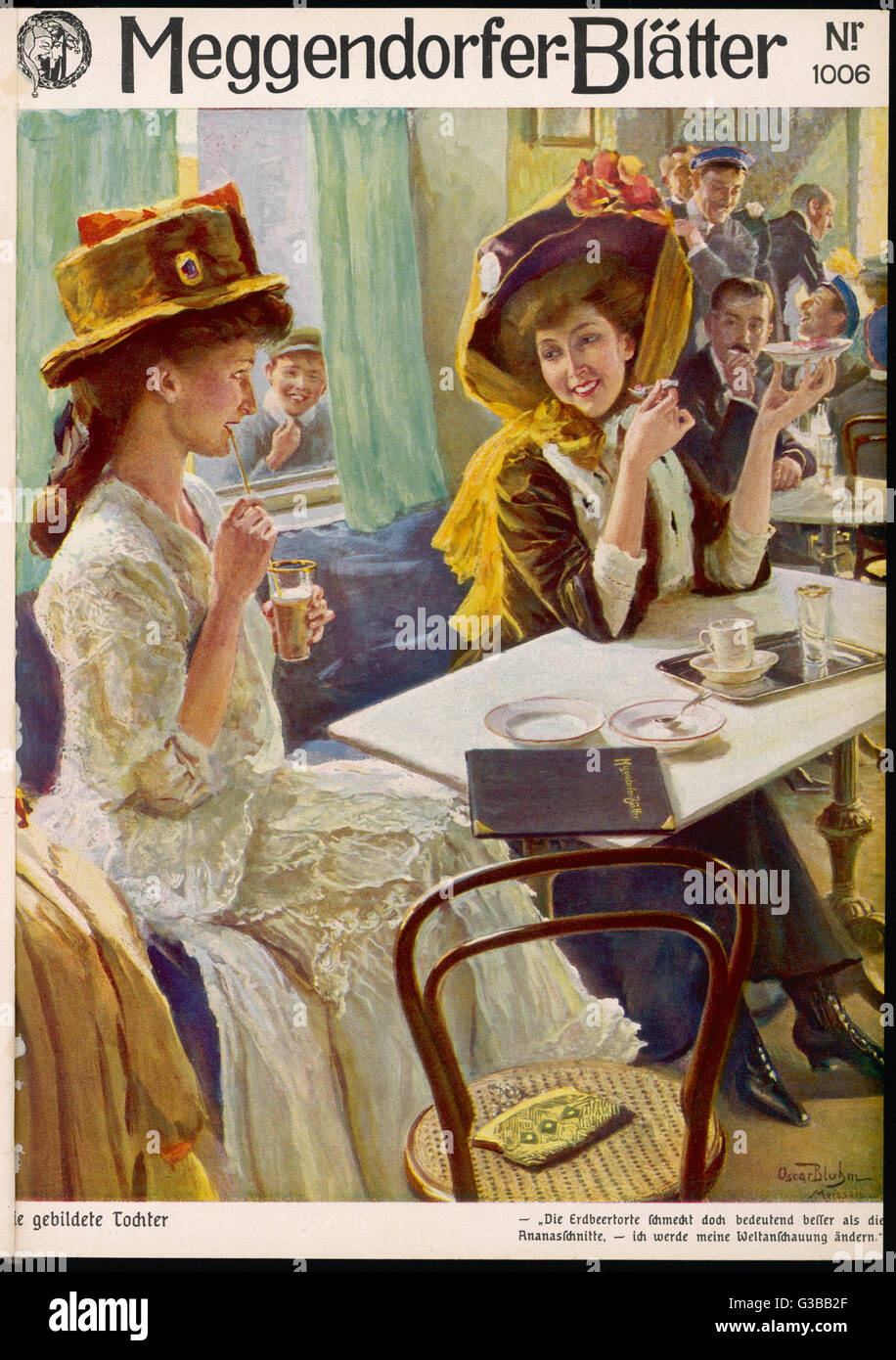 Two ladies wearing enormous  hats pass the time of day in a cafe       Date: 1910 - Stock Image
