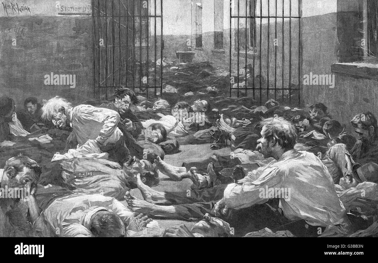 Down-and-outs in New York are allowed to sleep at a police station       Date: 1898 - Stock Image