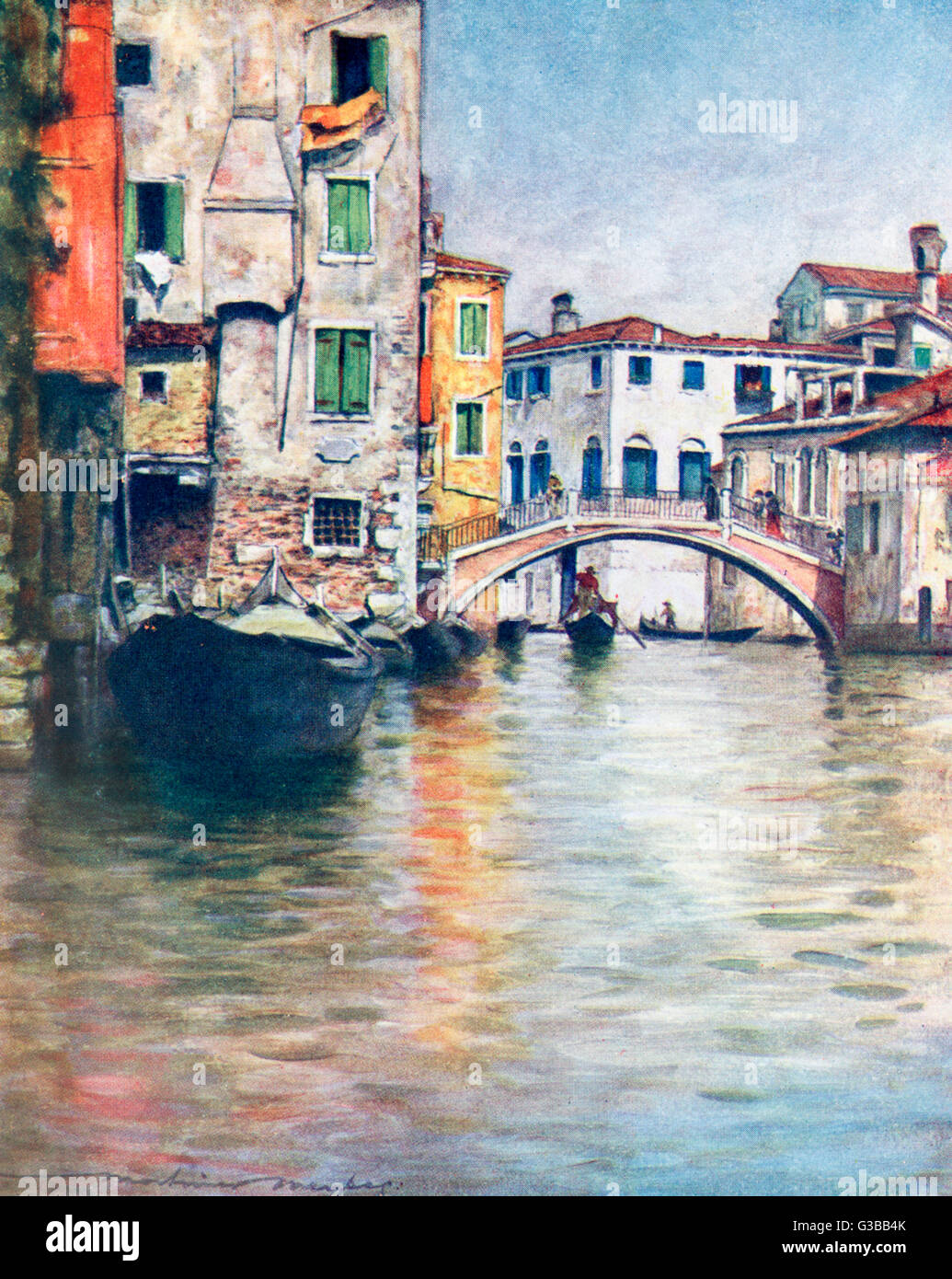 Bridge over a Venetian canal.         Date: 1916 - Stock Image