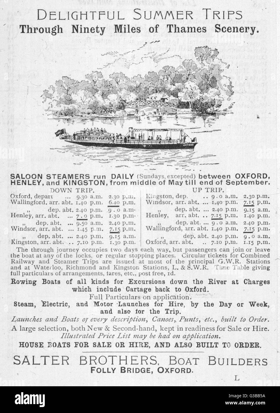 Notice of sailings of Thames  steamers operated by Salter  Brothers of Folly Bridge,  Oxford.      Date: 1906 - Stock Image
