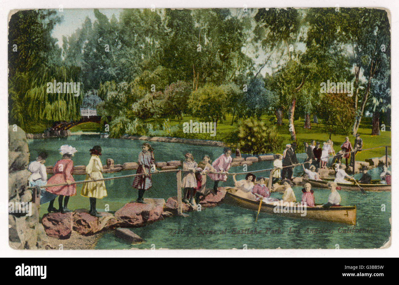 Children enjoying themselves in Eastlake Park, Los Angeles,  California       Date: circa 1910 - Stock Image