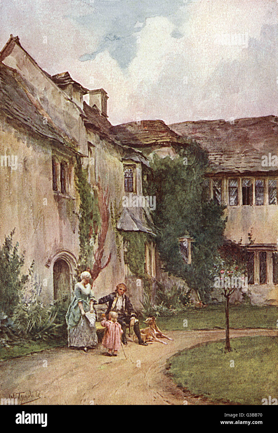 People outside an old manor  house at Westwood, Dorset        Date: 18th century - Stock Image