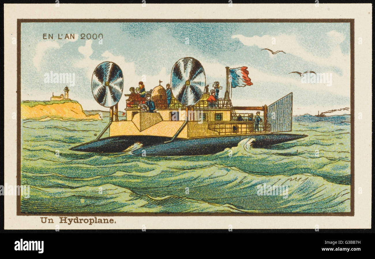 A hydroplane of the year 2000  - not so very different from  the hovercraft.        Date: 1899 - Stock Image