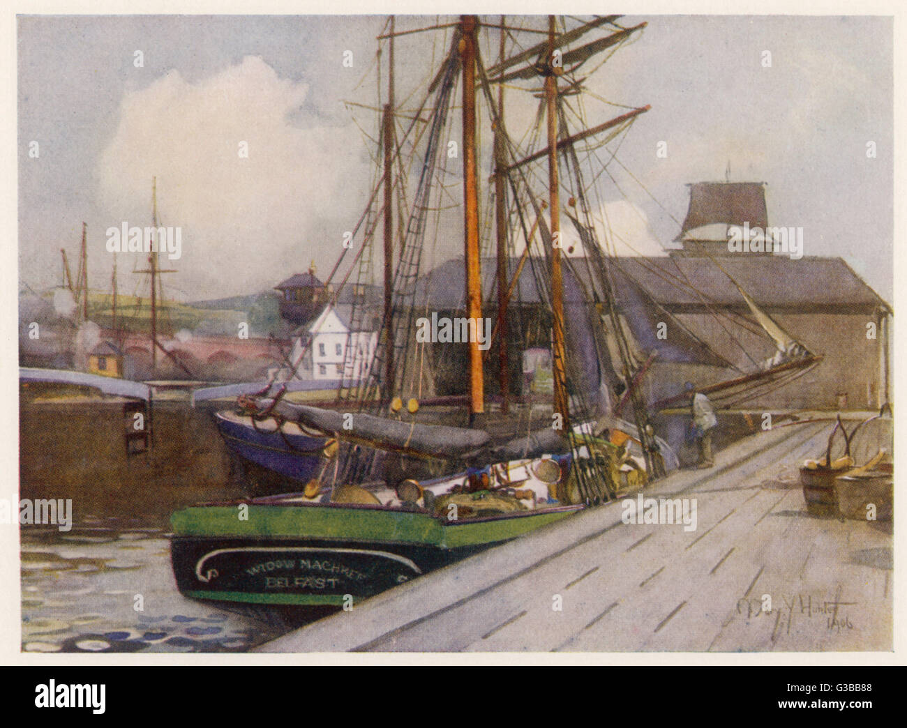 Sailing vessels at the  entrance to the CLYDE AND  FORTH CANAL at Bowling.       Date: 1906 - Stock Image