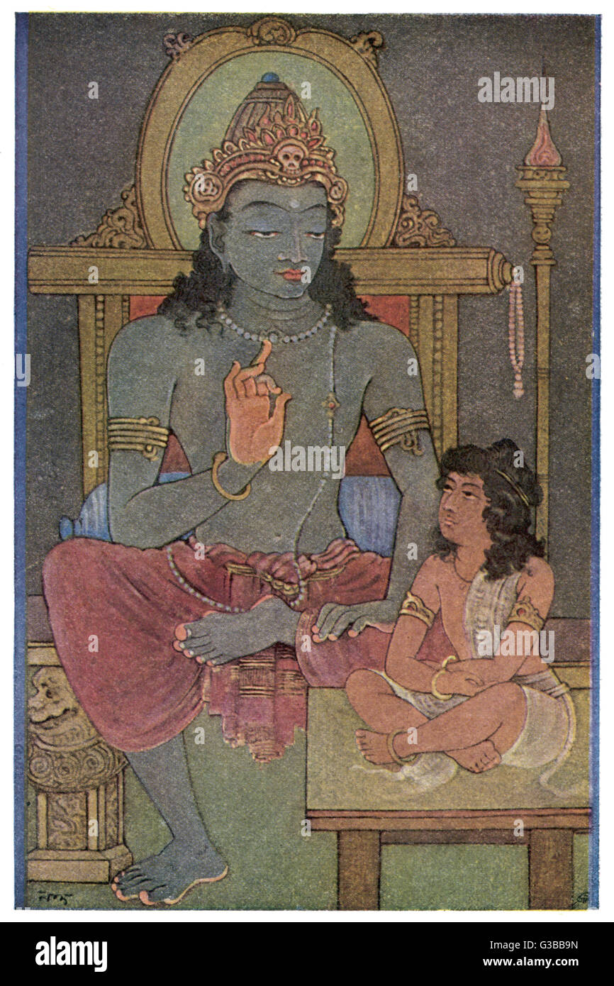 KRISHNA, the 8th avatar of  Vishnu, instructs ARJUNA, who  doesn't seem all that thrilled  at being instructed. - Stock Image