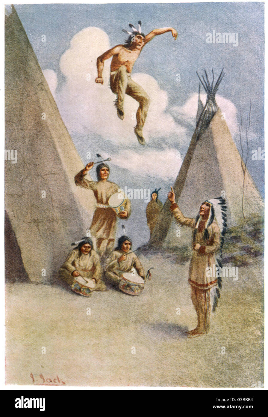 Sioux myth of Ictinike, son  of the Sun god, he was  compelled by magic to leap in  the air to a drum beat      - Stock Image