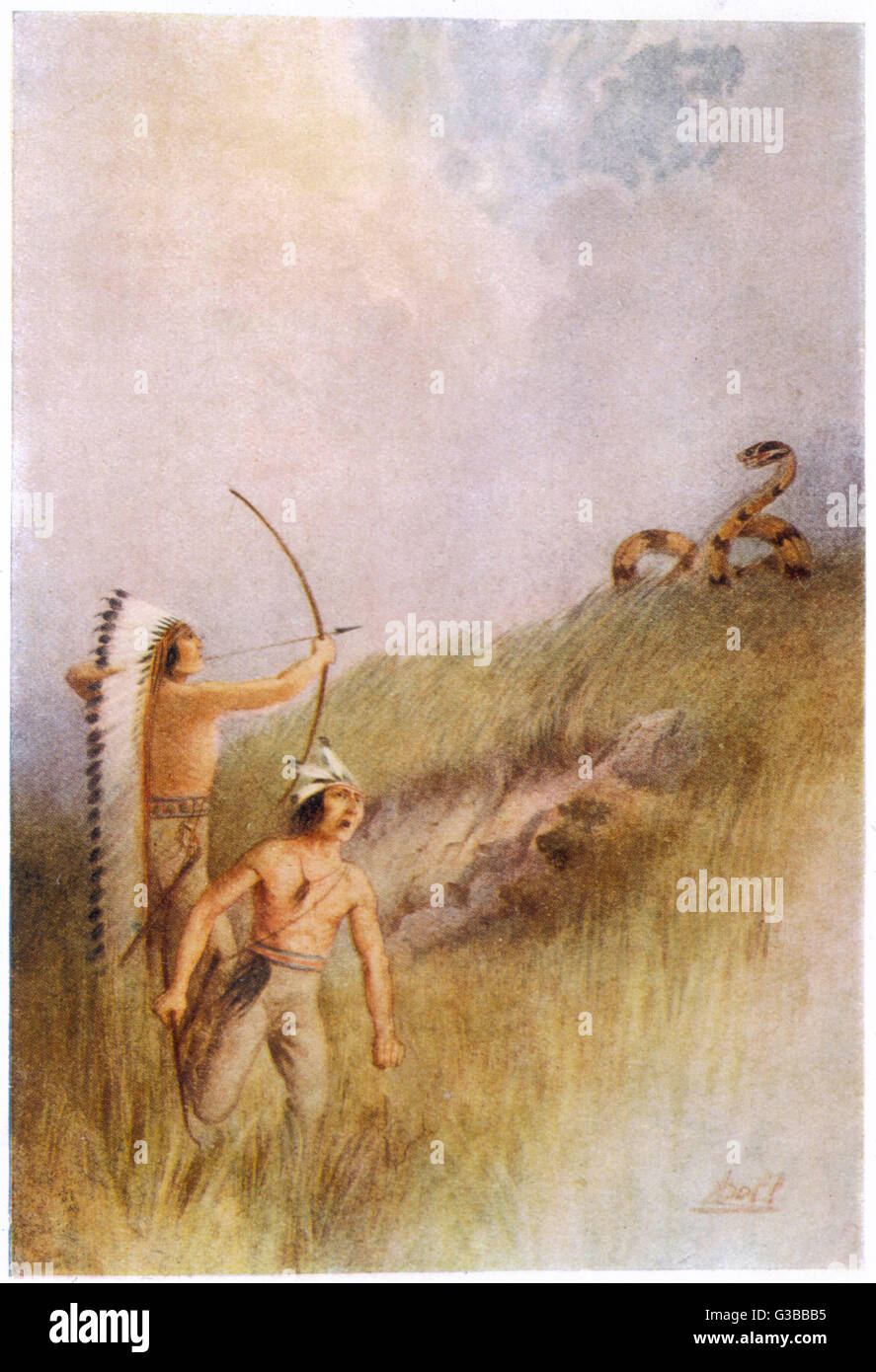 The Sioux war chief shoots an  arrow at the Monster  Ratlesnake & kills it        Date: 1914 - Stock Image