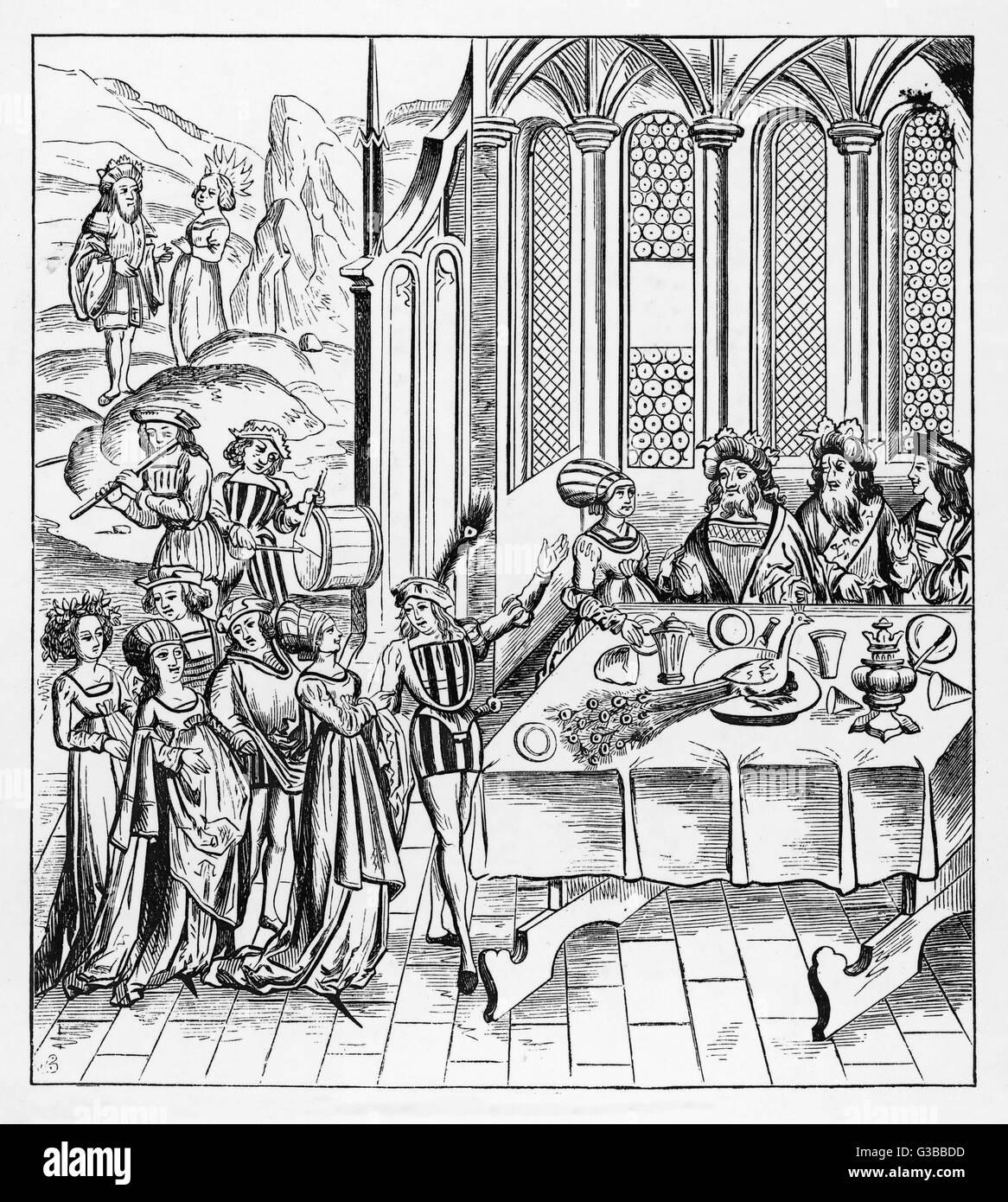 Tudor banquet          Date: Sixteenth century - Stock Image