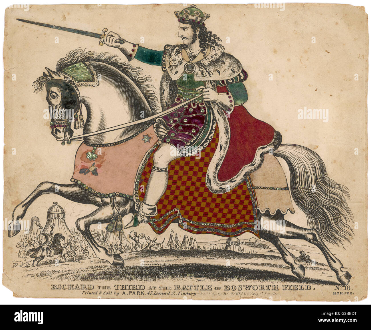 KING RICHARD III OF ENGLAND  depicted at the fatal battle  of Bosworth Field - a  splendidly stylised depiction - Stock Image