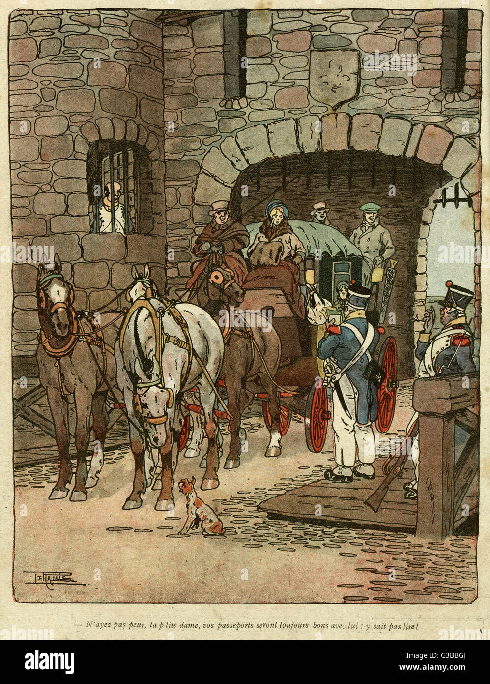 Cartoon depicting passport control in the old days, showing soldiers examining the passports of coach passengers Stock Photo