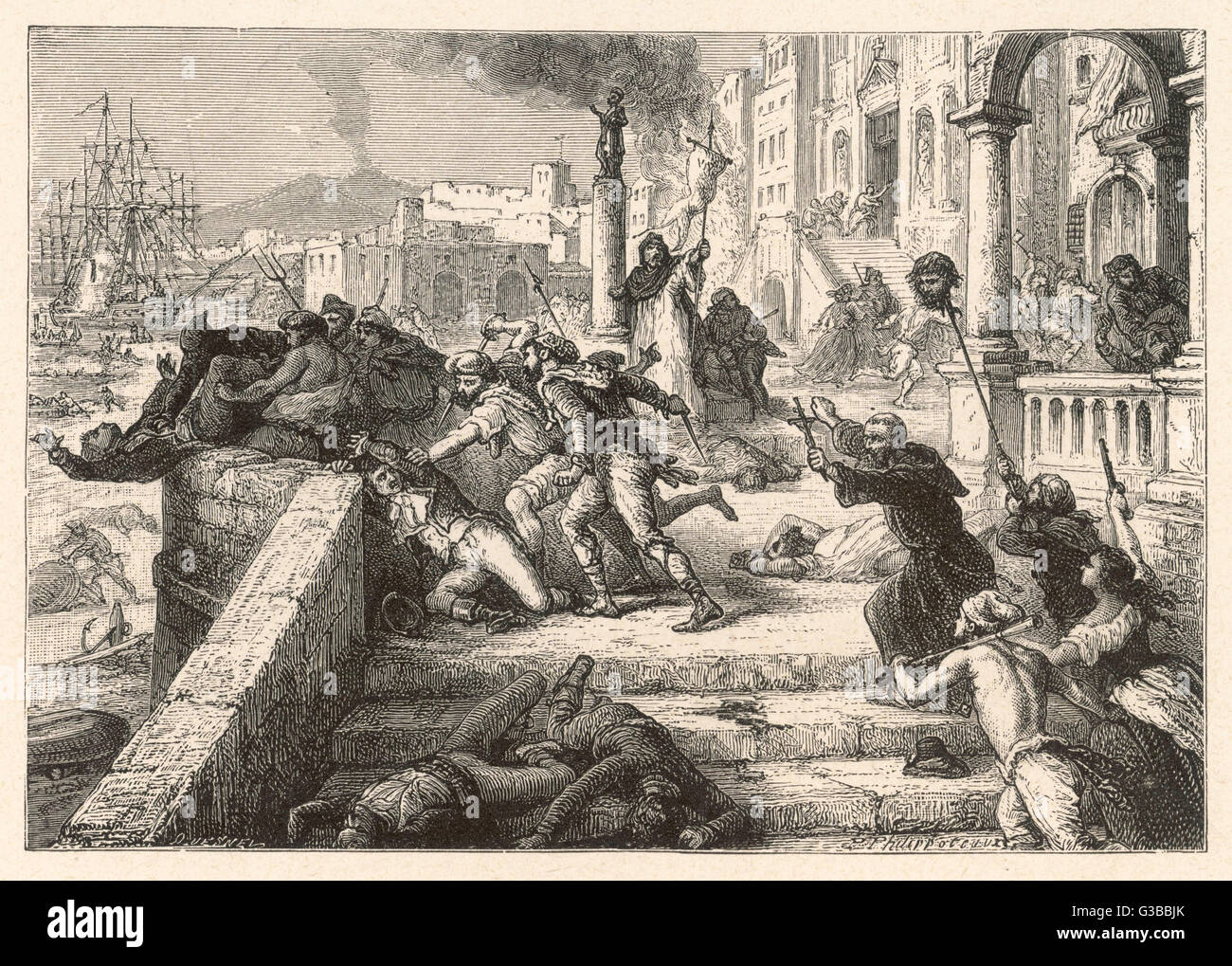 The populace of Naples rise up  against the French.        Date: 1798 - Stock Image