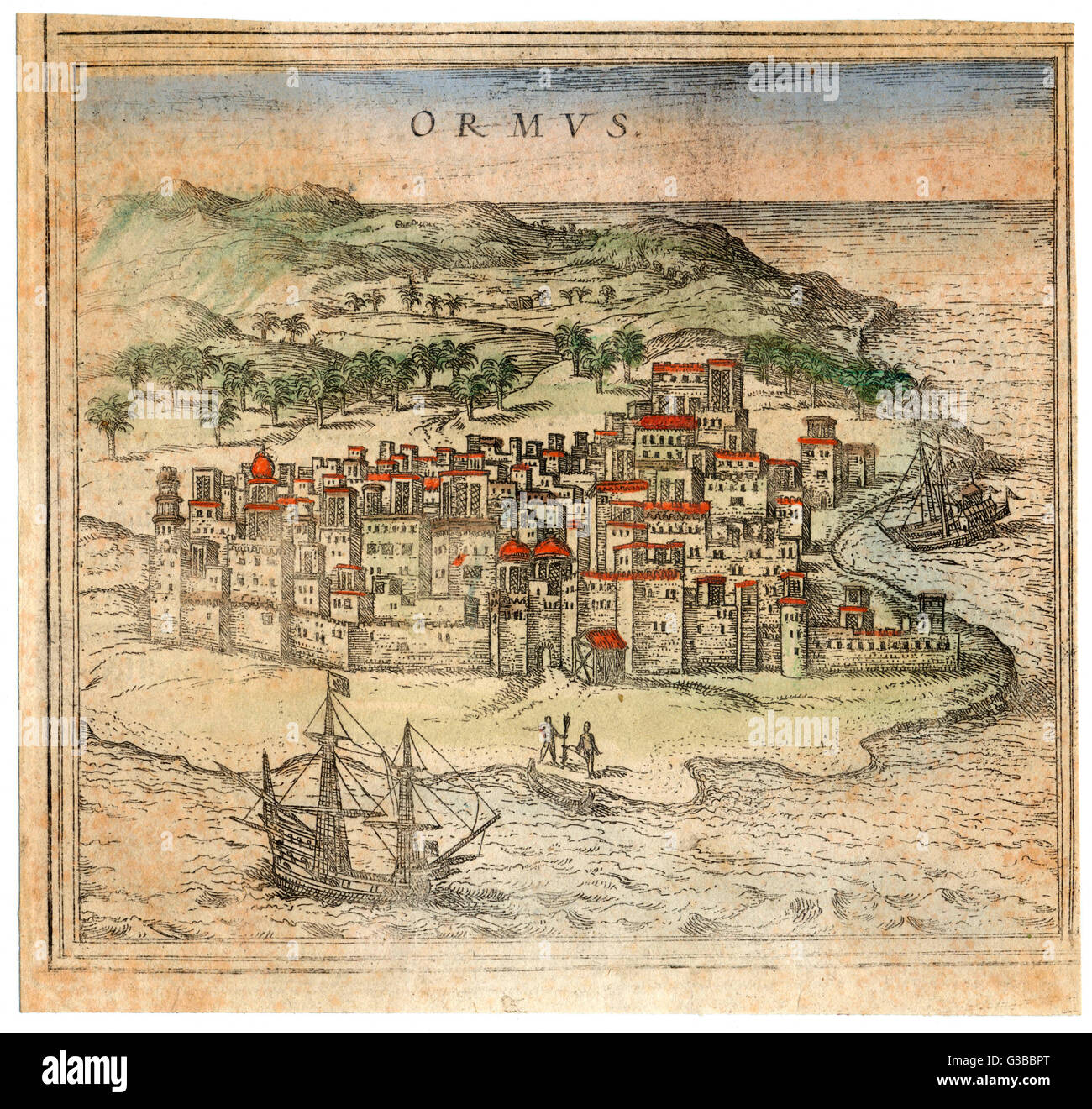 From 1514 the Portuguese  controlled this trading  centre, constructing a citadel which was taken in  1622 by Persians - Stock Image