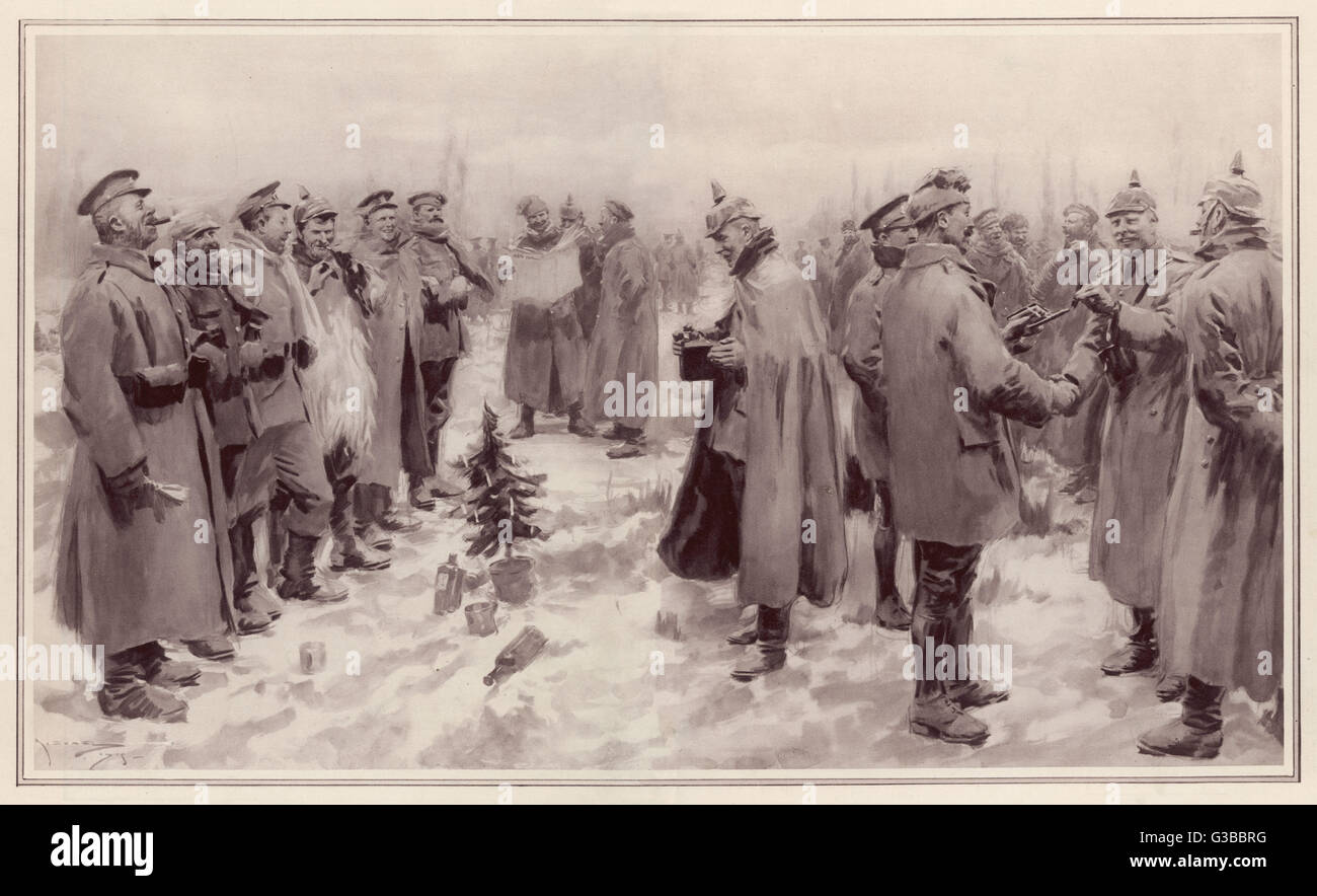British and German troops  fraternise on the field of  battle on Christmas Eve,  greeting each other and exchanging - Stock Image