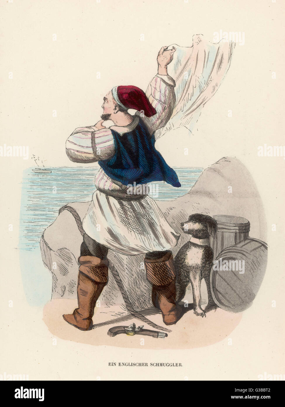 German portrayal of an English  smuggler         Date: Early 19th century - Stock Image
