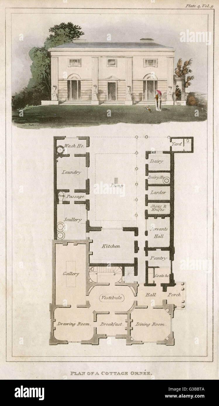 Elevation and plan for a  cottage ornee, a decorative  country building        Date: circa 1815 - Stock Image