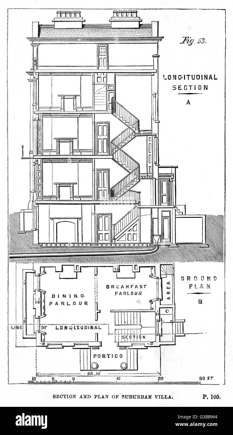 Longitudinal section and  ground plan of a suburban  villa        Date: 1857 - Stock Image