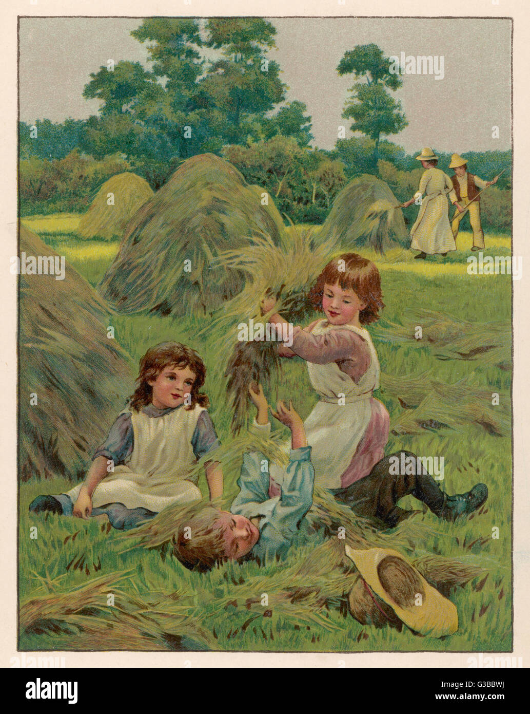 Two girls and a boy playing in  a hayfield on a summer's day        Date: 1888 - Stock Image