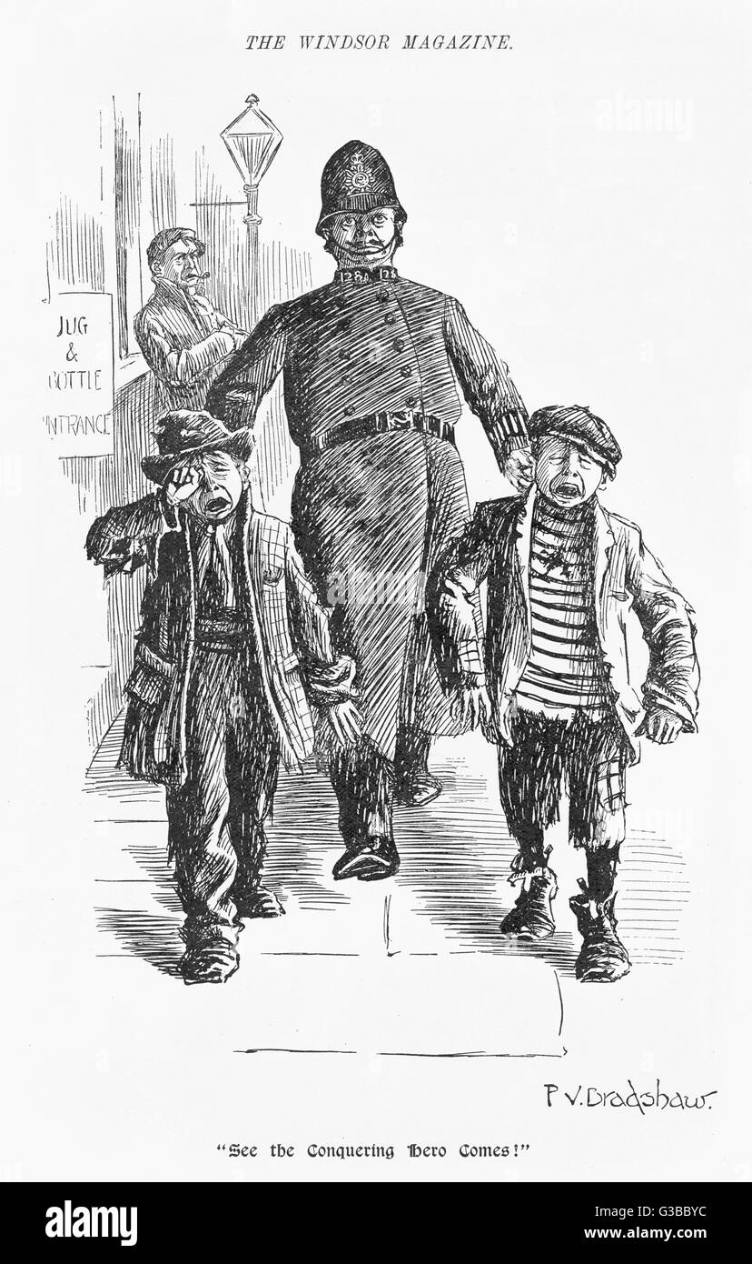 A jolly plump Police constable  & his tearful prisoners         Date: 1900 - Stock Image