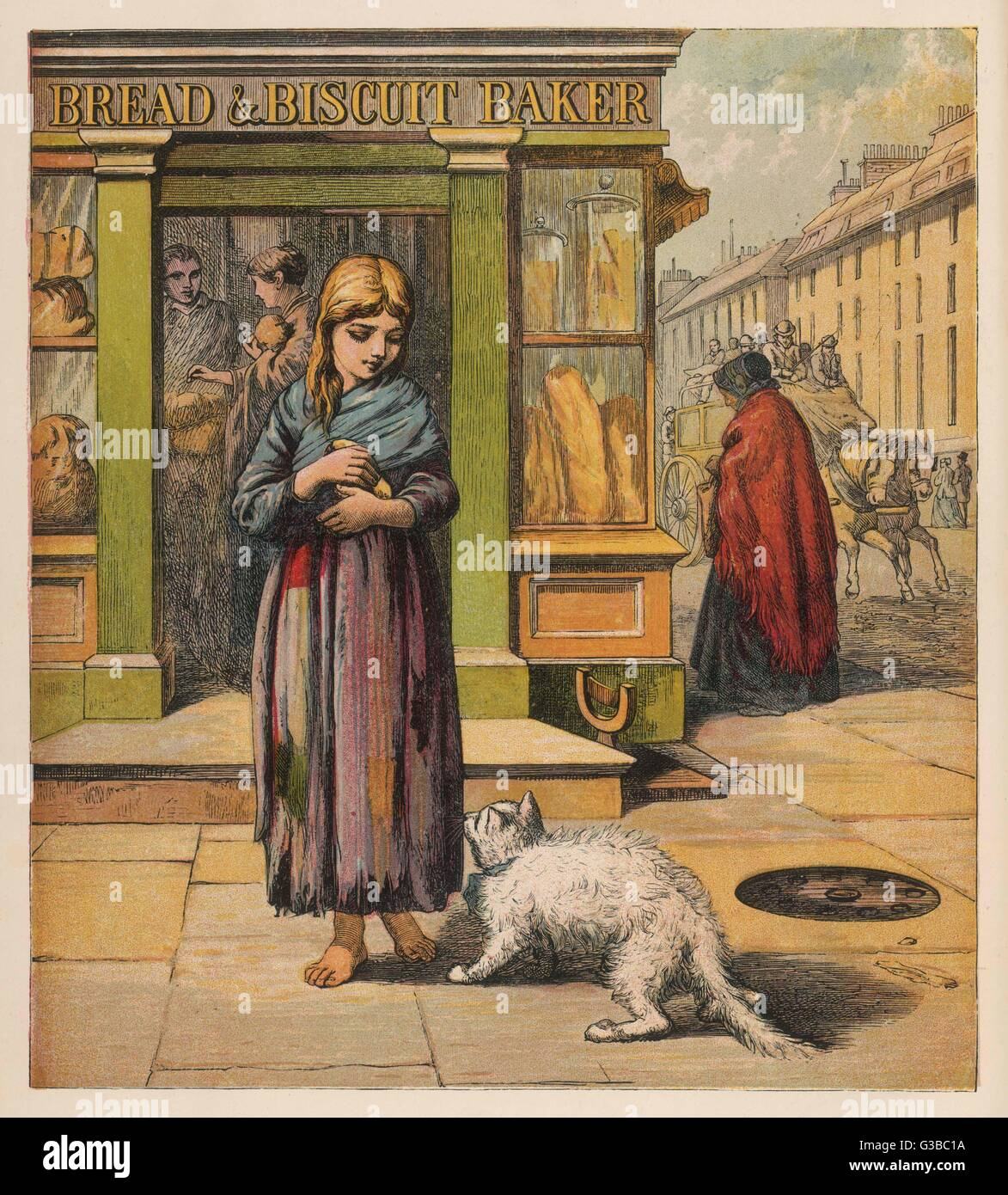 A street girl has bought some  bread from a shop - a white  cat shows interest ... (1 of 2)      Date: circa 1860s - Stock Image
