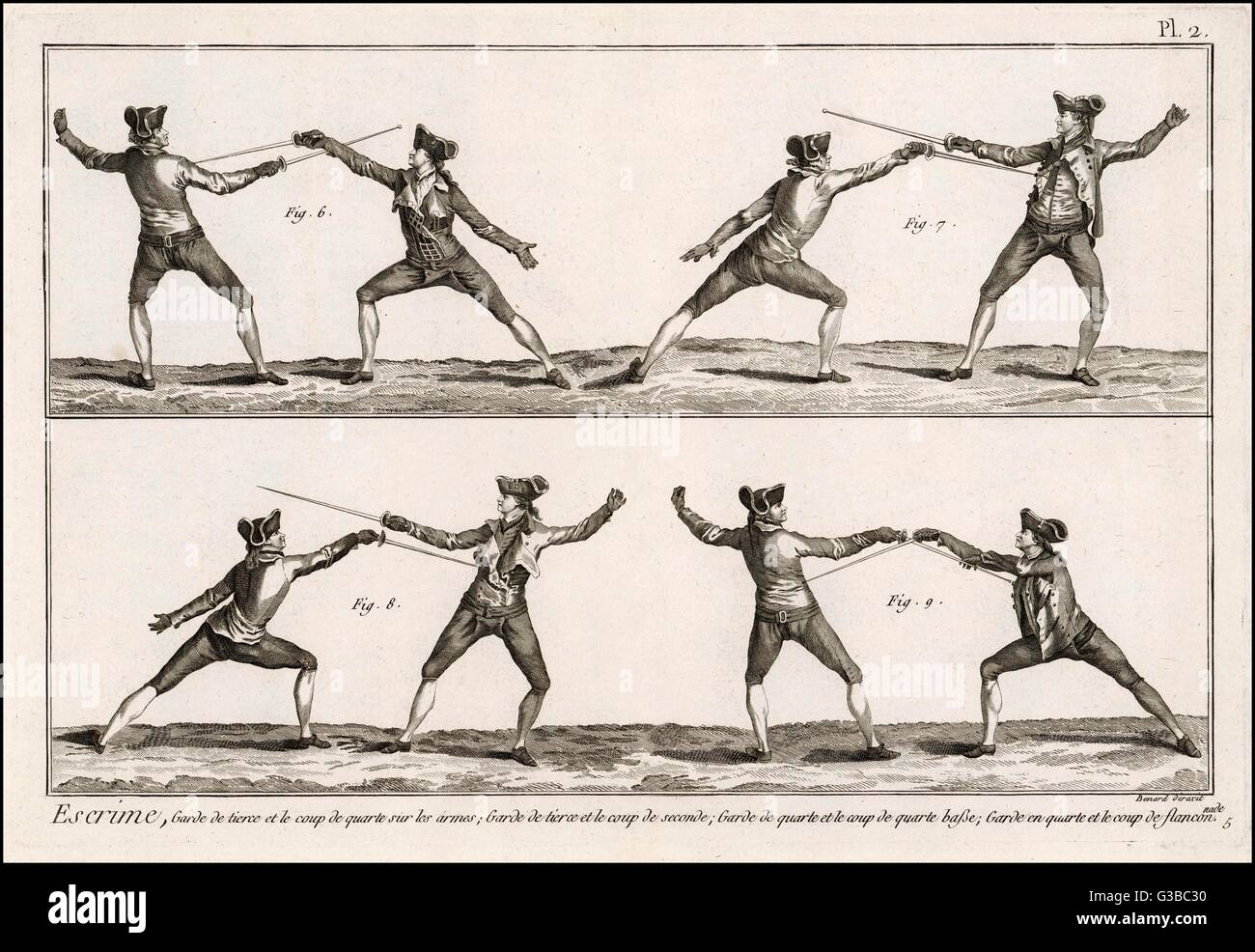 Instruction in the art of  fencing.  2 of 9       Date: Late 18th century - Stock Image